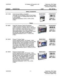 01/06/2017 US Catalog: All Prices are in US Dollars Electronics